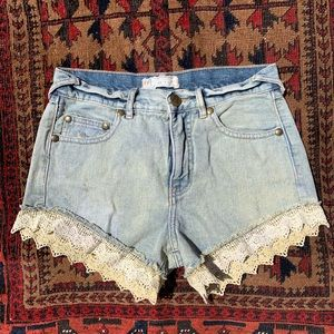 Free People lace trim denim shorts vintage wash